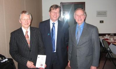 At the National Press Club in Ottawa, April 5th. Left to right Mikko Heikinheimo, Ambassador of Finland to Canada Pasi Patokallio, and Tõnu Onu. Photo: Peeter Bush - pics/2006/13002_1.jpg