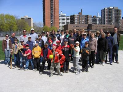 The Toronto Estonian Scout Group Kalev cubs, scouts and parents pose after their annual end-of-winter softball game, held  near the Estonian House on April 29th.  The game featured excellent fielding and hitting, and very hittable pitching.  Next on the agenda is the talgud, or work weekend at Kotkajärve on May 13, to prepare for summer camp in August.    Text and photo: Paul Sambla          - pics/2006/13256_1_t.jpg