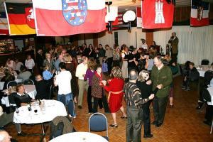 Ottawa Baltic Friends held their 3rd Oktoberfest on November 3, 2007 at the Maple Leaf Almrauch Club. Pictured are some of the partygoers enjoying themselves learning an Estonian dance directed by Ülle Baum. As usual the event was well attended by members of the Ottawa Lithuanian, Latvian and Estonian communities. - pics/2007/11/18114_1_t.jpg