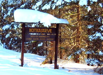 This photo of Kotkajärve's welcoming sign was taken in February of 2006.  Photo: Toomas Kütti - pics/2007/15211_1.jpg