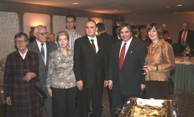 At the Ottawa Estonian Embassy's Independence Day reception. From left to right:  Marta Vent, Edvin Talback, Patria Talback, Harri Talback, Rasmus Lumi, Peter Van Loan and Ene Tikovt.  Photo: PB - pics/2007/15581_1.jpg