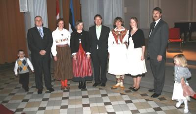 At the Ottawa Independence Day aktus: from left to right: Samuel Shlik,Rasmus Lumi, Eve Õiglane-Shlik, Ülle Baum, Mark Olo, Ene Tikovt, Evelin Loit, Margus Aruja and Tuuli Olo.  Photo: PB - pics/2007/15636_3.jpg