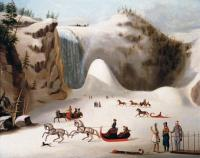 Robert Clow Todd (1809-1860)           Sledges and figure skating on the frozen lake in front of Montmorency Falls           Õli, lõuend           53,3 x 66 cm                             - pics/2007/15682_2_t.jpg