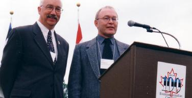 From left:  Bob Tipman and Bob Kingsep at the 1999 Centennial of Estonians in Canada, Linda Hall, Stettler, Alberta.   They shared Master of Ceremony duties there, and now are sharing the presidency of the Alberta Estonian Heritage Society.  Bob Tipman recently resigned and Bob Kingsep was voted in as the second president of the two-year old organization on April 21 at a meeting in Red Deer, Alberta. Photo: Leesment - pics/2007/16236_1.jpg