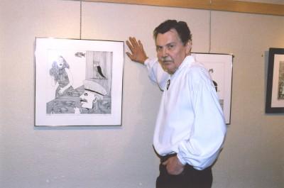 Lugemisteater Ilutuli juht ja organisaator Aarne Vahtra, kelle kunstinäitus oli samal ajal Tartu College¹is. Foto: E. Sepp - pics/2007/16332_3.jpg