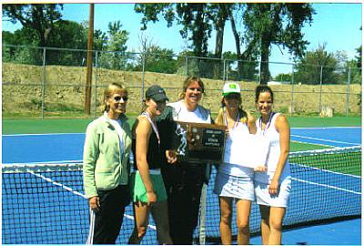 Photo caption: At the Montana State Tennis Championships, May 26. From left assistant coach Mary Housinger, her daughter Laura, who came 3rd in girls singles, Liisa Ullman, and Zarah Zimmerer and Whitney Wilbert, who won the girls doubles championship. - pics/2007/16605_1.jpg
