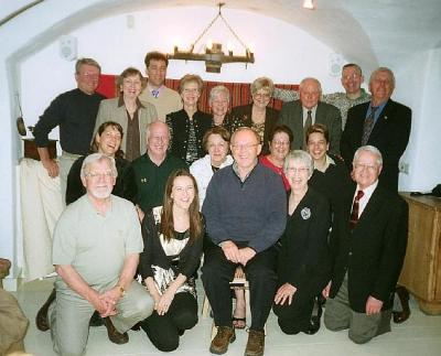Members of the Alberta Heritage Society and friends at the Golden Piglet Inn in Tallinn, May 7, 2007 Front row, left to right: Dave Kiil, Tobi (Kingsep) Telford, Bob Kingsep, Annette Kingsep, Jüri Kraav. Row two (sitting), left to right: Lisa Soosaar, Peeter Leesment, Eda McClung, Chris Soosaar, Janet Matiisen. Back row, left to right: Henn Soosaar, Helgi Leesment, Argo Küünemäe, June (Lapp) Kinsella, Helle Kraav, Anne Kiis, Jaan Kiis, Vello Leitham, Arne Matiisen  Photo AEHS - pics/2007/16719_1_t.jpg
