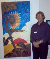 """Jaan Teng oma maaliga """"Päevalill"""".  Foto: A. H. Vahtra - pics/2008/10/21404_2_t.jpg"""