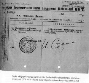 """Arhiividokument  Stalini allkirjaga ülisalajane dokument, väljavõte VK(b)P Keskkomitee 1925. a. 3. jaanuari istungi protokollist, milles soovitatakse """"Eesti seltsimeestel võtta tarvitusele meetmed  evakueerimiseks"""".      - pics/2009/01/22421_1_t.jpg"""