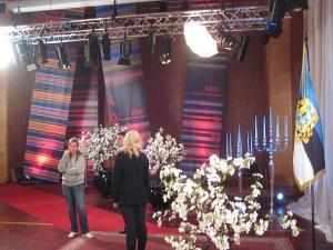 Sellisel taustal nägid televaatajad presidendipaari, kui nad sadu külalisi kätlesid. Foto on võetud 24. veebruari pärastlõunal, kui välisministeeriumi riikliku protokolli osakonna inimesed kontrollisid, kas kõik oli täpselt paigas. Foto: Märt Matsoo - pics/2009/03/23016_3_t.jpg
