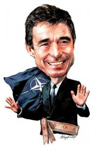 The newly elected Secretary General of NATO, Danish Prime Minister Anders Fogh Rasmussen, traces his ancestry to Estonia. Õhtuleht reported during his 2002 visit to Estonia that Fogh told his hosts his great-grandfather had been a timber businessman near Tartu in the 19th century who emigrated with his family to Denmark in the 1890's. Estonian roots are everywhere.  Rasmussen assumes the NATO SecGen position on August 1st of this year.  Illustration: Andrus Peegel - pics/2009/04/23383_1_t.jpg