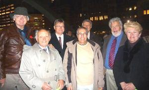 Some of the founding members of the International Black Ribbon Day Committee (IBRDC) who were at the Fall of the Wall ceremony at Nathan Phillips Square.  In brackets are their titles and position of the organizations that they held at the time.In the front row, from the left are Yaro Sokolyk (President Ukrainian Canadian Congress), Shifiq Jasar  (President, Afghan. Assoc. of Canada), and Mary Szkambara (Vice President, Ukrainian Canadian Congress). In the back row from the left are Adu Raudkivi (IBRDC Press Director), Markus Hess (Chairman), Marek Celinski (VP Canadian Polish Congress), Laas Leivat (President, Estonian Central Council in Canada). - pics/2009/11/25994_1_t.jpg