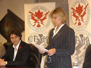 Justin Trudeau and Madeline Ziniak at this month's CEMA meeting  Photo: Adu Raudkivi    - pics/2009/11/26097_1_t.jpg