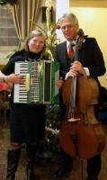 Ülle Baum, Eesti Seltsi jõulupuu kontserdi peakorraldaja ja Jan Järvlepp,  helilooja ja muusik.  Foto: Helen Naarits  - pics/2009/12/26691_2_t.jpg