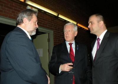 Avo Kittask, president, Estonian Central Council in Canada, Bob Rae, M.P., Liberal foreign affairs critic, Riho Kruuv, Estonian chargé d'affaires, at recent independence day reception in Toronto.  - pics/2011/03/31624_1_t.jpg