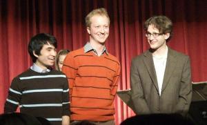 Pärast õnnestunud kontserti. Noored heliloojad Caleb Chan, Riho Esko Maimets, Mitch Renaud.     - pics/2011/03/31892_2_t.jpg