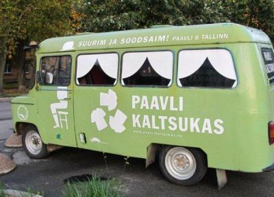 This groovy bus acts as a billboard on the corner of Kopli and Paavli Streets in Northern Tallinn. Suurim ja soodsaim! Paavli kaltsukas claims to be Eesti's largest and cheapest KALTSUKAS since 1998. The three shirt logo is reminiscent of what other familiar logo? Photo: Riina Kindlam - pics/2011/10/33654_1_t.jpg