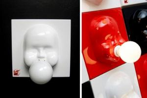 "Best known for his design of ingenious light sources (valgustid) aka humourous ""luminaires"", this chewing gum blowing child is probably Tarmo Luisk's most memorable creation to date. Made of plastic and powder coated sheet metal, the wall lamp ""Bubble"" (mull) comes in white, red and black and can help cheer up your interior sanctum for €175.00. That's $247 CAD. Photo: Keha 3 tootedisainibüroo / Industrial & Product Design - pics/2011/10/33896_4_t.jpg"