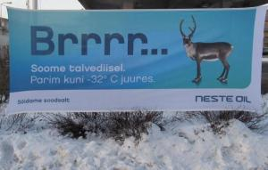 A banner seen in front of a Neste gas station in Tallinn this week. The smaller print reads: Finnish winter diesel. The best up to -32° C. And on the bottom left: Sõidame soodsalt, Let's drive profitably, i.e. for less. (Soodne = advantageous, favorable, profitable. Soodne hind  is a good price. ) Diesel vehicle drivers are living on the edge here, since -32° is precisely the forecast low for most nights in Eesti for the first week of February. Photo: Riina Kindlam - pics/2012/02/35109_001_t.jpg