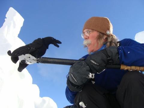 Yukon-Kanada meeskonda jälitab üks õnnetoov ronk (ehk kaaren), ingliskeeles raven. Siin ta vestleb lumekapten Don Wattiga. - pics/2012/04/35950_030_t.jpg