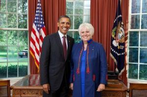 USA President Barack Obama ja Eesti Vabariigi Suursaadik USA-s, Mehhikos ja Kanadas Marina Kaljurand. - pics/2012/06/36784_001_t.jpg