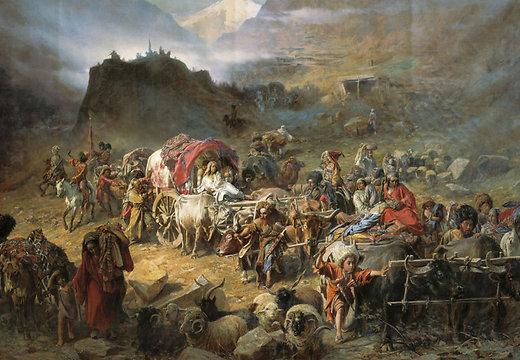 Mägilased lahkuvad auulist. Maalikunstnik Pjotr Gruzinski, 1872 - pics/2014/06/42337_001.jpg