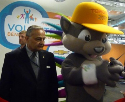 President of the Ethnic Media association Tom Saras and PanAm  games mascot Pachi. Photo: Adu Raudkivi.  - pics/2014/06/42527_001_t.jpg