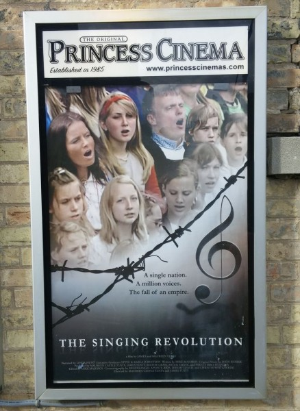 "Movie Poster, advertising the presentation of the film ""Singing Revolution"" at the Princess Cinema in Waterloo on 23 October, 2016. Photo Martin Kiik - pics/2016/10/48574_001_t.jpg"