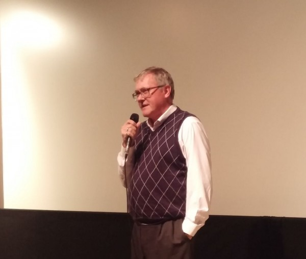 """Markus Hess, founder of the Black Ribbon Day movement, answering questions after the screening of the 2006 film """"The Singing Revolution"""" at the Princess Cinema, Waterloo, Ont., 23 October, 2016. Photo Martin Kiik - pics/2016/10/48574_003_t.jpg"""