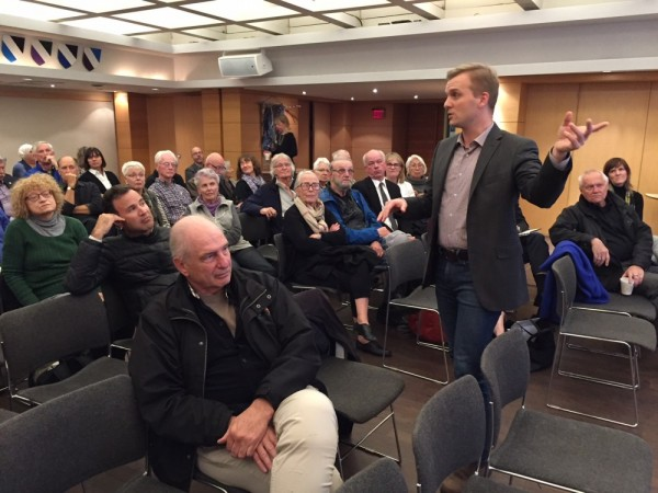 Councillor Joe Cressy speaks in favour of the Estonian Centre Project at the Annex Ratepayers meeting held at Tartu College on Oct. 30.  - pics/2017/11/50617_001_t.jpg