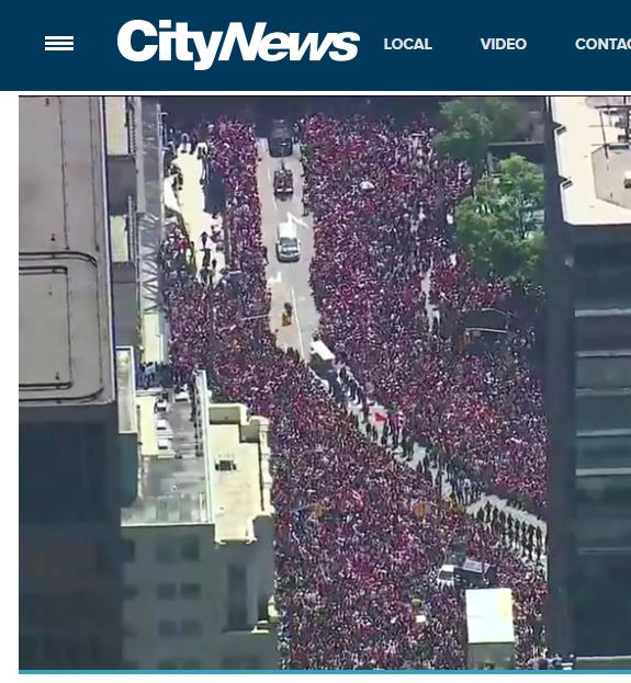 Aerial view shows massive crowds at Raptors parade City - News VIDEO