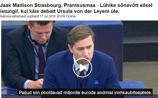 Jaak Madison Strasbourg, Prantsusmaa · Lühike sõnavõtt eilsel istungil, kui käis debatt Ursula von der Leyeni üle.
