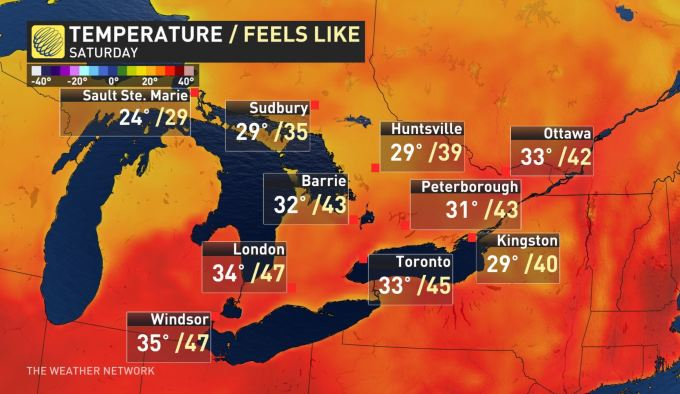 JUST HOW HOT WILL IT GET SATURDAY? Ontario